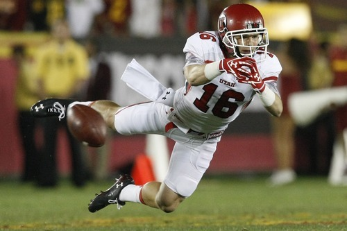 Chris Detrick  |  The Salt Lake Tribune Utah Utes wide receiver Griff McNabb (16) can't make a catch during the fourth quarter of the game at the Los Angeles Memorial Coliseum on Saturday.
