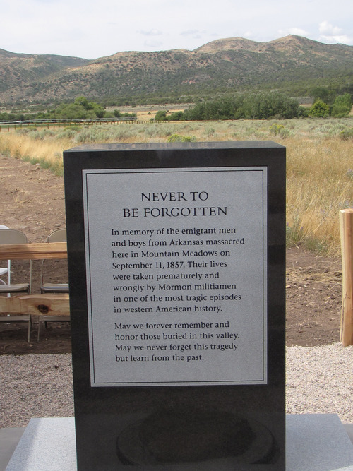 Mark Havnes |  The Salt lake Tribune Monument to victims of the Mountain  Meadows Massacre was dedicated Saturday as part of celebration dedicating the site as national historic landmark.