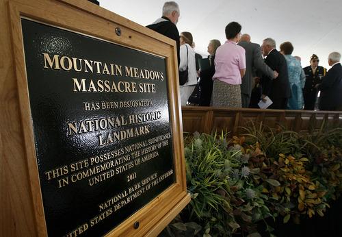 Scott Sommerdorf  |  The Salt Lake Tribune              The plaque commemorating the Mountain Meadows massacre site, Sunday, September 11, 2011.