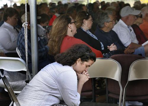 Scott Sommerdorf  |  The Salt Lake Tribune              Heidi Casson listens to speeches at the Mountain Meadows massacre ceremony, Sunday, September 11, 2011.