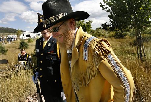 Scott Sommerdorf  |  The Salt Lake Tribune              James G. Lee, a great, great grandson of John D. Lee arrives at the Mountain Meadows massacre site, Sunday, September 11, 2011.