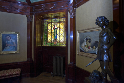 Paul Fraughton  |  The Salt Lake Tribune  The stained glass window in the reception room of the McCune Mansion. The window was missing for years, discovered in California,purchased at auction and replaced in its original location at the mansion.   Tuesday, September 13, 2011