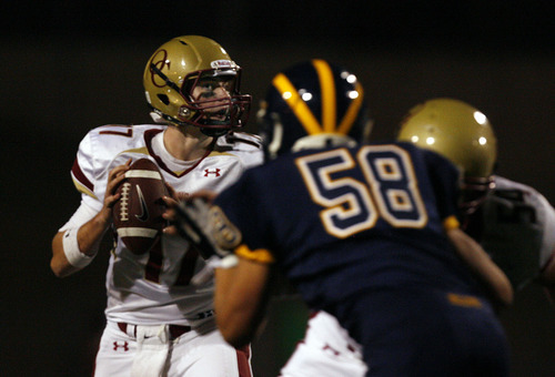 Scott Sommerdorf     The Salt Lake Tribune              Oaks Christian QB Luke Falk looks out of the corner of his eye to see the rush coming against Bellevue (WA), Saturday, September 3, 2011. The Oaks Christian Lions lost 31-21 to the Bellevue (WA) Wolverines at the Mission Viejo Football Classic.