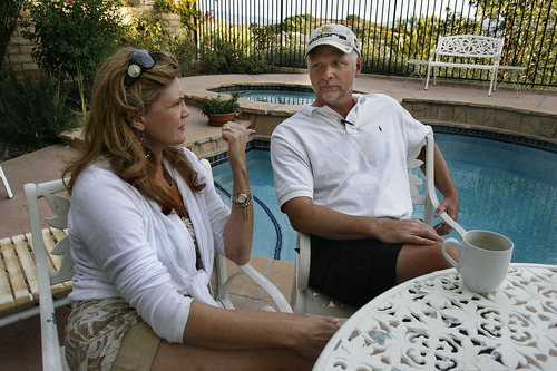 Scott Sommerdorf     The Salt Lake Tribune              Analee and Mike Falk, Luke Falk's parents talk about Luke and their decision to bring him to Southern California to go to school at Oaks Christian High in the back yard of their home in Westlake Villiage, CA, Sunday, September 4, 2011.