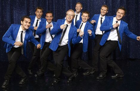 Robert Seely, Ross Welch, Jake Hunsaker, McKay Crockett, Keith Evens, Tanner Nilsson, Ben Murphy, Tyler Sterling of BYU's Vocal Point are competing on NBC's