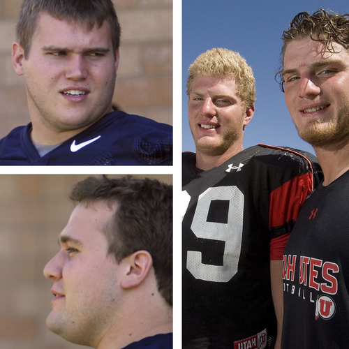 BYU's Reynolds brothers, Matt (top-left) and Houston (bottom-left), along with Utah's Kruger brothers, Joe and Dave (right), are parts of family dynasties on the football teams. Tribune File Photos
