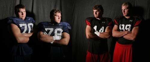Leah Hogsten   The Salt Lake Tribune BYU brothers Matt Reynolds #70 and Houston Reynolds #78 will face University of Utah brothers Dave Kruger #44 and his Joe Kruger #99 Saturday at Lavell Edwards Stadium.