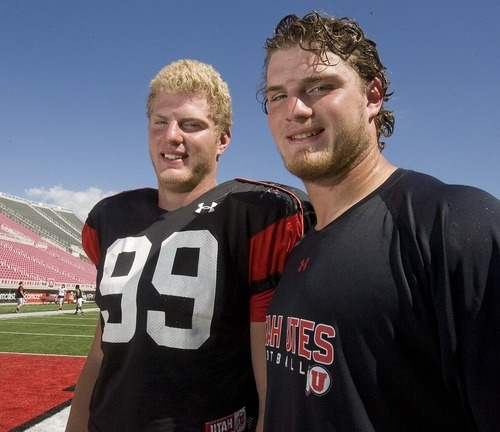 Tribune file photo Ute lineman Joe Kruger and his big brother Dave Kruger  at practice in 2010.