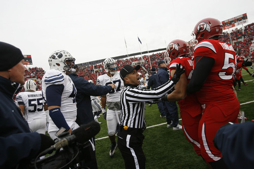Chris Detrick  |  The Salt Lake Tribune  Sufficient vitriol exists between BYU and Utah to compel referees to break up pre-game fights, and a switch in conference affiliations doesn't alter that.