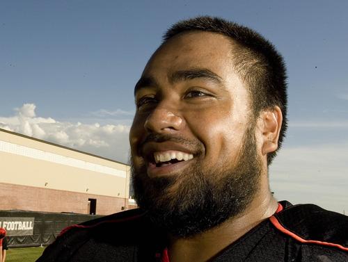 Paul Fraughton  |  The Salt Lake Tribune  .Star Lotulelei, University of Utah defender at  Tuesday's practice.   Tuesday, September 13, 2011