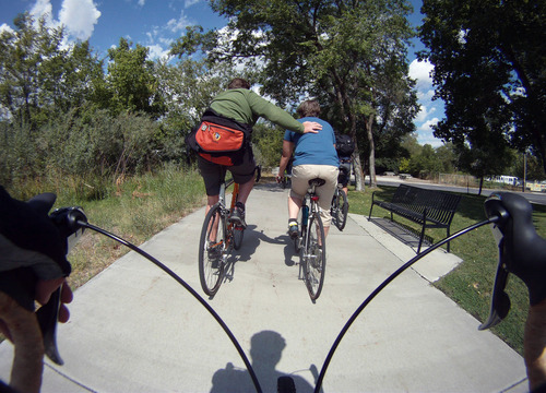 Francisco Kjolseth  |  The Salt Lake Tribune Cyclists follow Becka Roolf, bicycle and pedestrian coordinator for Salt Lake City, as she leads a two-hour public tour of Salt Lake City's additional bikeways.