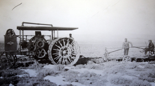 Tribune file photo Circa 1912/1913, a tractor used by Jewish settlers at Clarion. The tractor failed to continually work for the settlers. Clarion was the work of Jewish settlers in the early 1900s. After several setbacks, the settlement near Gunnison failed and was abandoned. Photos courtesy of Bob Goldberg