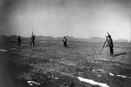 Men work to survey farm boundaries at the historic Clarion colony, which was founded 100 years ago as a Jewish farming community near Gunnison. Courtesy Image