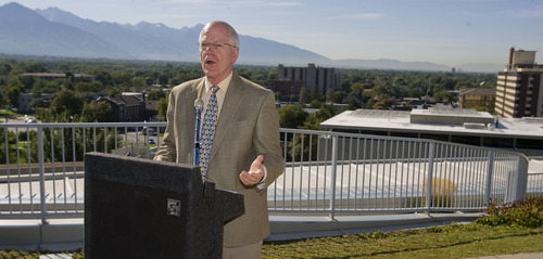 Al Hartmann  |  The Salt Lake Tribune Peter Giles, Leonardo's executive director, speaks as Rocky Mountain Power and The Leonardo unveiled a 30-kilowatt, rooftop solar array that will help power the science, technology and art museum when it opens on Oct. 8.