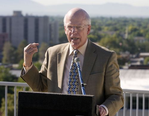 Al Hartmann  |  The Salt Lake Tribune Peter Giles, The Leonardo's executive director,  speaks as Rocky Mountain Power and The Leonardo unveiled a 30-kilowatt, rooftop solar array that will help power the science, technology and art museum when it opens on Oct. 8.