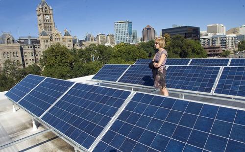 Al Hartmann  |  The Salt Lake Tribune Rocky Mountain Power and The Leonardo unveiled a 30-kilowatt, rooftop solar array that will help power the science, technology and art museum when it opens on Oct. 8.  Vicki Bennett, Salt Lake City's sustainability director, takes a look at the rooftop solar array.