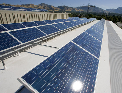 Al Hartmann  |  The Salt Lake Tribune Rocky Mountain Power and The Leonardo unveiled a 30-kilowatt, rooftop solar array that will help power the science, technology and art museum when it opens on Oct. 8.