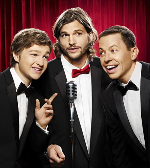 Men men men men, manly men men men! (l-r) Angus T. Jones, Ashton Kutcher and Jon Cryer star in TWO AND A HALF MEN on the CBS Television Network. Photo: Matt Hoyle/CBS / Warner Brothers ©2011 CBS BROADCASTING INC. All Rights Reserved.