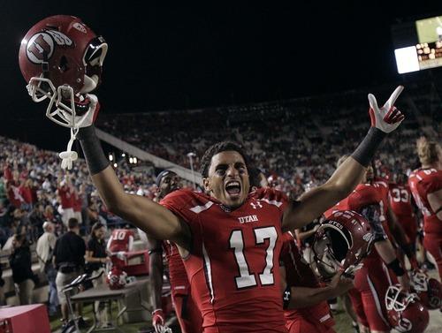 Trent Nelson  |  The Salt Lake Tribune Utah's Chandler Johnson celebrates a fourth quarter touchdown. BYU vs. Utah, college football in Provo, Utah, Saturday, September 17, 2011.