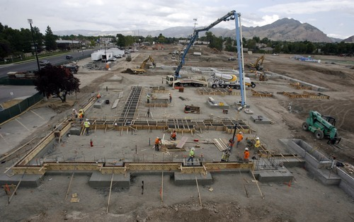 Rick Egan  | The Salt Lake Tribune View of the construction of the new Olympus high school from the roof of the existing building. Olympus High is being rebuilt on the site of the old school while students are in the old building