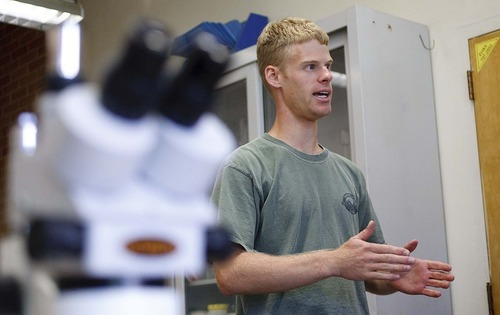 Trent Nelson  |  The Salt Lake Tribune Graduate student Eric Allen at Utah State University in Logan is looking at how tree rings tell the story about climate change in northern Utah.