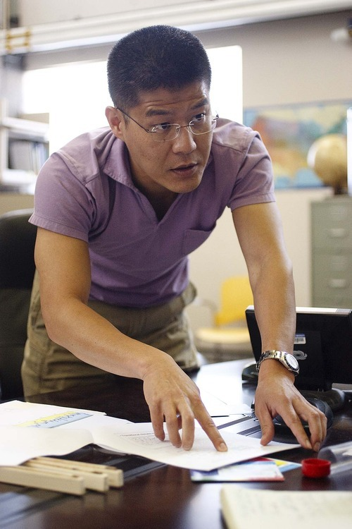 Trent Nelson  |  The Salt Lake Tribune Assistant professor Simon Wang is one of three researchers at Utah State University in Logan looking at how tree rings tell the story about climate change in northern Utah.