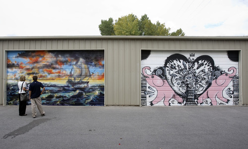 Rick Egan  |  The Salt Lake Tribune Painted garage doors are part of the 337 Project's Urban Gallery, a set of garage doors painted by 337 artists on the occasion of the 30th anniversary of the nonprofit organization Neighborhood House.  October 3, 2008.