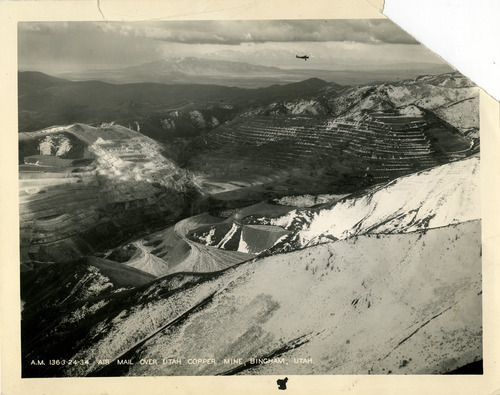 Tribune file photo  An air mail plane flies over the Utah Copper Company, now known as Kennecott, is seen in this 1934 photo.