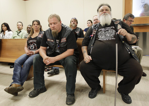 Members of the Tacoma-based Gargoyles motorcycle club, (from front left) Marla Emberton, Tracy Guise, and