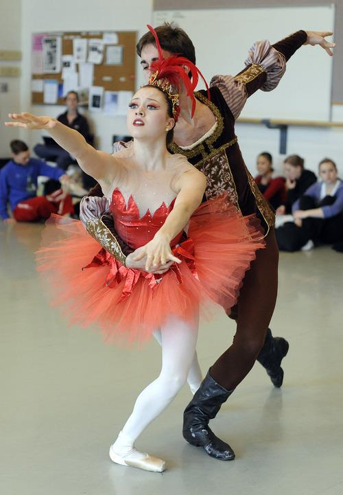 Sarah A. Miller  |  The Salt Lake Tribune file photo  David Riskin as Prince Ivan and Kayley Winfield as the Firebird rehearse
