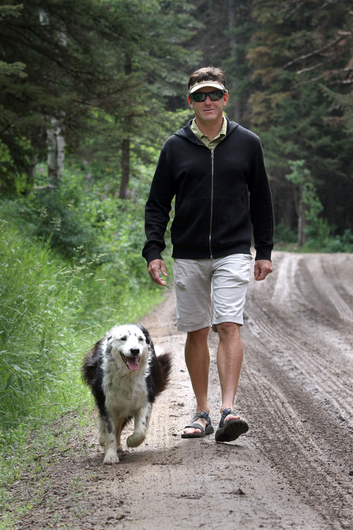 Rick Egan  | The Salt Lake Tribune   David Gonzales, founder of the whitebark pine protection group Tree Fight, with his dog Pepe, in Jackson,  Wyo., Tuesday, August 2, 2011.