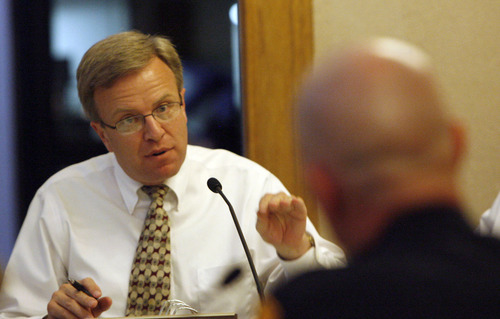 Leah Hogsten | Tribune file photo Salt Lake City councilmember Eric Jergensen questions Police Chief Chris Burbank over the needs of his department in May 2008.
