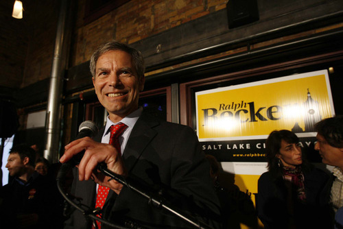 Trent Nelson | The Salt Lake Tribune Ralph Becker makes his winner's speech, celebrating victory at his mayoral election night headquarters at Squatter's Pub Brewery in Salt Lake City.