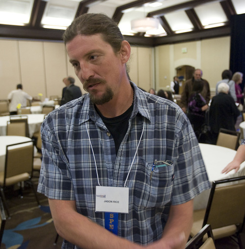 Al Hartmann  |  The Salt Lake Tribune Jason Rice, a recently homeless man who has struggled with addiction, talked about how he has succeeded in turning his life around at the Utah Homeless Summit in Salt Lake City on Wednesday.