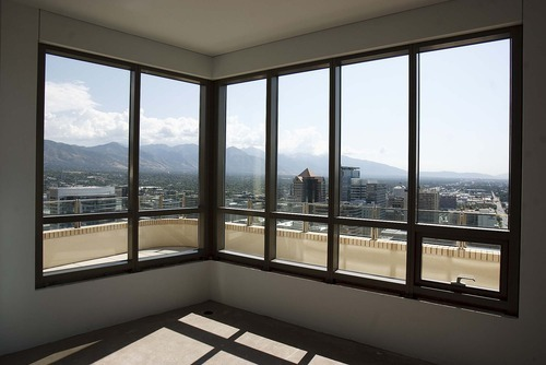 Trent Nelson  |  The Salt Lake Tribune The view from a penthouse on the 28th floor of the Promontory tower, part of the City Creek development in downtown Salt Lake City. On the southeast corner of South Temple and West Temple, the 185-unit building is the largest and tallest residential structure at City Creek. Two-thirds of the units remain for sale.