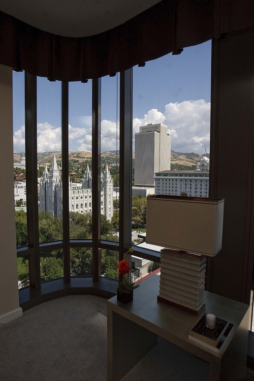 Trent Nelson  |  The Salt Lake Tribune The view of Temple Square from a condominium on the 15th floor of the Promontory building, part of the City Creek development in downtown Salt Lake City, Utah, on Thursday, September 15, 2011.