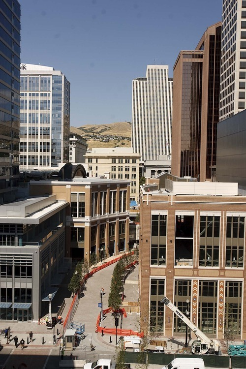 Trent Nelson  |  The Salt Lake Tribune Looking north into the nearly-completed City Creek development in downtown Salt Lake City, Utah, on Thursday, September 15, 2011.