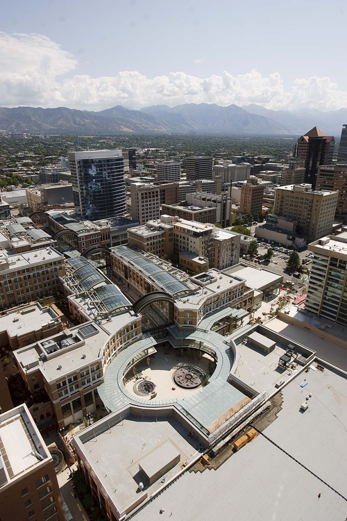 Trent Nelson  |  The Salt Lake Tribune The view from a penthouse on the 28th floor of the Promontory building, looking down into City Creek Center in downtown Salt Lake City, Utah, on Thursday, September 15, 2011.