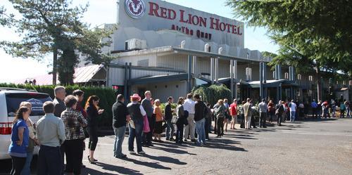 Job seekers stand in line during U.S. Rep. Jaime Herrera Beutler's