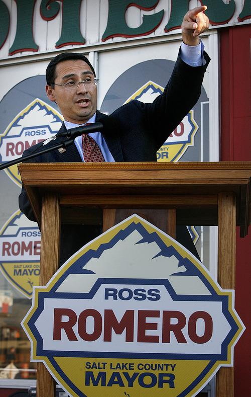 Scott Sommerdorf     The Salt Lake Tribune              Utah State Senator Ross Romero announced his candidacy for Mayor of Salt Lake County at the Mediterranean Market on State Street in Salt Lake City, Thursday, September 29, 2011.