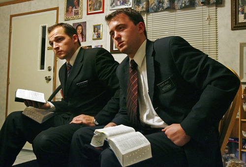 Tribune file photo LDS missionaries Ryan Mourelatos, left, and Ryan Wood work to bring the message of their church to the West Valley City area.