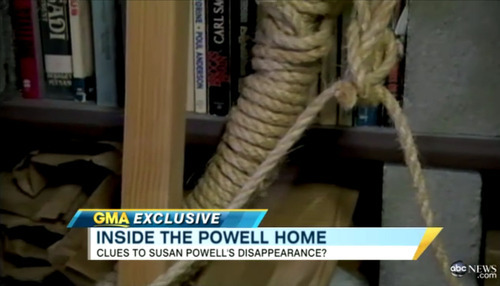 In this image shot by Good Morning America, an item described as a hangmen's noose is seen in Steve Powell's home in Puyallup, Wash.
