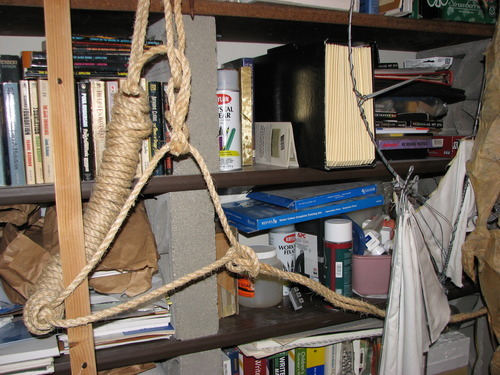 In this image, an item described as a hangmen's noose is seen in Steve Powell's home in Puyallup, Wash. (Courtesy KUTV)