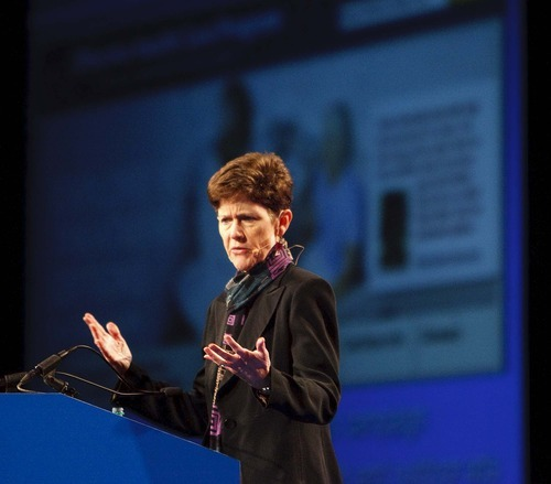 Trent Nelson     The Salt Lake Tribune  Carolyn Clancy, Director of the Agency for Healthcare Research and Quality, addressed the American Health Information Management Association (AHIMA) conference at the Calvin L. Rampton Salt Palace Convention Center on Tuesday.