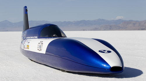Jaren Wilkey  |  BYU BYU's Electric Vehicle Racing Team led by Professor Perry Carter during their World Record run at the World of Speed on the Bonneville Salt Flats. The streamliner,