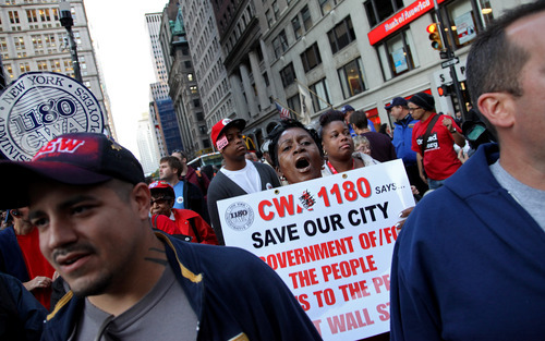 (AP Photo/Craig Ruttle) In New York Wednesday, members of a diverse group of powerful unions joined demonstrations near Wall Street, lending credibility and potentially hundreds of participants to a group that started out with a few camped-out college students.