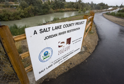 Steve Griffin  |  The Salt Lake Tribune Salt Lake County led a coordinated effort by local, state and federal government agencies to revitalize the Jordan River's east bank near 1100 W. 7200 South, providing the county with flood control and water quality benefits.