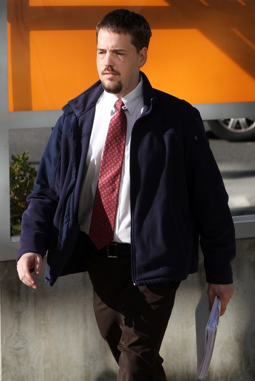 Rick Egan I The Salt Lake Tribune Josh Powell enters the courthouse for the shelter care hearing at the Pierce County Superior Court house in Tacoma, Wash.
