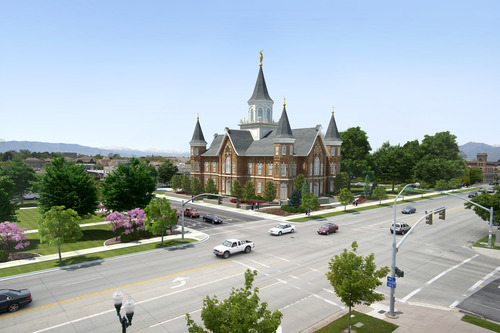 Artist's conception of how the rebuilt Provo Tabernacle/Temple will look. (courtesy LDS Church)