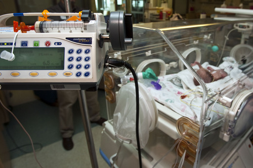 Chris Detrick  |  The Salt Lake Tribune A baby receives Prolact+4 H2MF, a human milk fortifier, in the Neonatal Intensive Care Unit at McKay-Dee Hospital Center in Ogden on Wednesday.